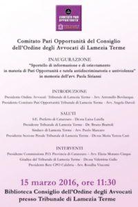 Sportello antiviolenza_Comitato Pari Opportunità Avvocati_ Lamezia