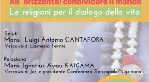A Lamezia in dialogo con mons. Ignatius Ayau Kaigama per condividere l'orizzonte di un mondo possibile