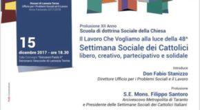 Martedì 12 presentazione programma del dodicesimo anno della scuola di dottrina sociale della Chiesa